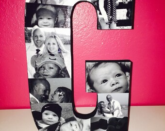 """Wooden Letter Photo Collage (3/4"""" thick letter)"""