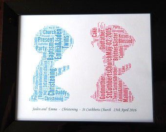 """Christening/Baptism Personalised Twins or Boys &/Or Girls Word Art Design C PRINT ONLY,  Will Fit Any 8""""x10"""" Frame Beautifyl Gift Keepsake"""