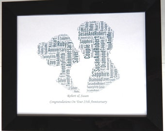 """New Personalised Wedding Anniversary Word Art PRINT ONLY Design (A) Will Fit Any 8""""x10"""" Frame Beautiful Gift & Keepsake, Reduced Postage"""