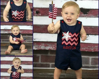 Patriotic Flag Shortall,4th of July Jon,Patriotic July 4 Jon,Boys Patriotic Jon,Embroidered Applique Jon Shortall,Navy Jon
