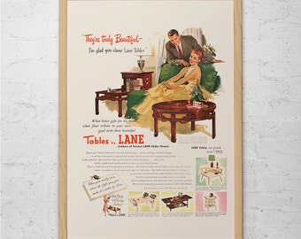 RETRO HOME DECOR Ad - Vintage Lane Tables Ad - Retro Cartoon Poster Retro Kitsch Art Mid-Century Poster 1950's Advertisement