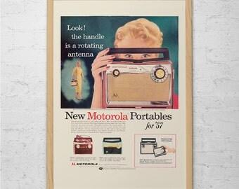 VINTAGE MOTOROLA RADIO Ad - Mid-Century Advertising Classic Tube Radio Ad Vintage Portable Radio Ad Vintage Radio Poster Mad Men Poster