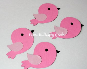 Set of 4 Bird Die Cuts, Pink  Baby Birds, Baby Bird Die Cuts, Bird Centerpieces, Shower Decorations, Yellow Birds