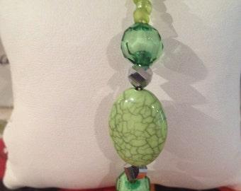 Greens Galore-Beaded Bracelet