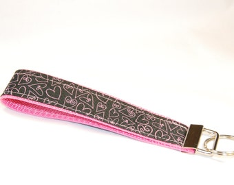Key Fob - Pink Hearts on Black on Pink
