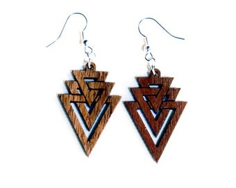 Wood Jewelry, Interlocking Triangles wooden earrings, Natural Wood Jewelry, Trendy, Geometric, Fashion Accessory,Sustainable wood,