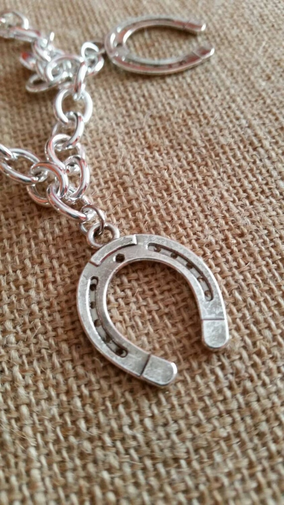 horseshoe charm bracelet lobster claw clasp 8 by