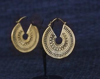 Tribal hoops, Brass hoops, Tribal Hoops, Ethnic earrings, Tribal Jewelry, Tribal Earrings