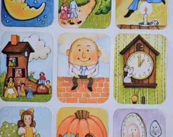 Vintage Stickers - Mother Goose Nursery Rhymes - 9