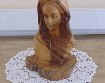 Vintage carved olive wood Madonna