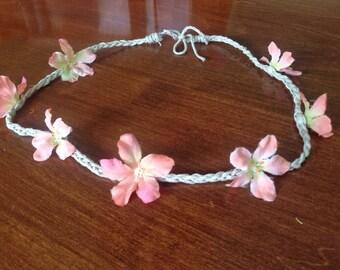 Pink Braided Floral Headband