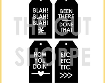 The Talk the Talk cut file set includes 4 tags, that can be used for your scrapbooking and papercrafting projects.
