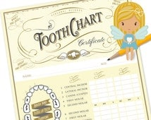 Tooth Fairy Chart, Tooth Fairy Certificate, Tooth Fairy Printable, Printable Certificate, Printable Tooth Chart, Tooth Record. Motif Visuals