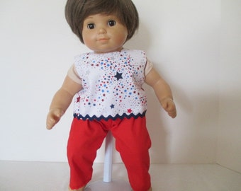 Star print top and red pants