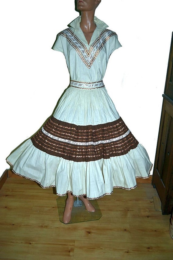 Items similar to 1950s mexican wedding 2 pc peasant circle for Mexican wedding dresses for sale
