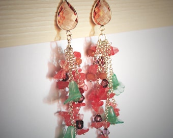 pink cluster earrings