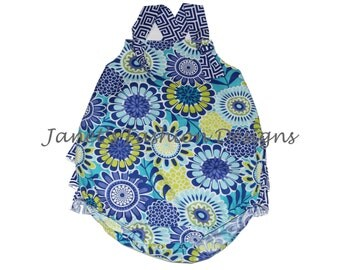 Floral Blue Baby Romper-Floral with Blue and White Greek Keys Baby Girl Bubble Romper - Girls Sunsuit Bubble Romper with Bum Ruffles