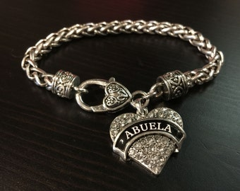 ABUELA Rhinestone Heart Charm Bracelet