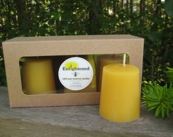 Pure beeswax votive candles. 3 votives per box. Boxes are recycled kraft paper. Unbleached Cotton wick. 100% pure beeswax.