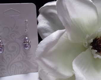Handmade light purple pearl earrings
