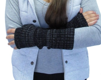 Charcoal Knitted Wrist Warmers / Fingerless Mittens
