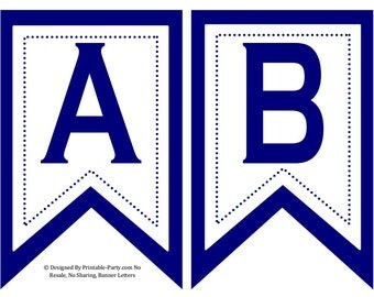 5x8 Inch Swallowtail Navy Blue Printable Banner Letters