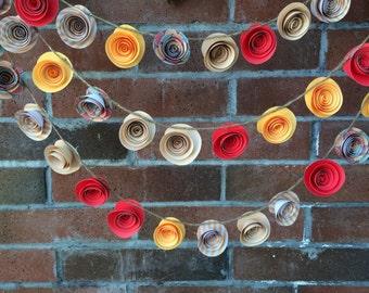 Paper Flower Garland. Yellow, Hot Pink, Cream, Striped, Grapefruit flowers