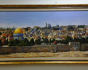 Jerusalem Painting Jerusalem Oil Painting Jerusalem view Jewish Art  Painting Oil On Canvas Jerusalem Art Israel Holy Land  Israeli Artist
