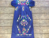 Vintage Navy Blue Floral Mexican Dress / Floral Embroidery / Boho / 1970s/80s