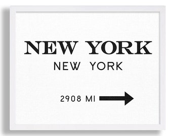 New York City Print Typography Art Print Gift for Him Fashion Art NYC Art Marfa Sign Print Black and White Print