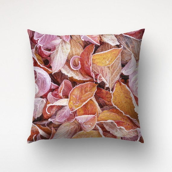 Red Leaves Pillow, Dogwood Leaves, Nature Photography, Living Room Decor
