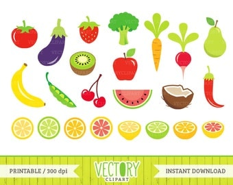 23 Fruits and Vegetables Clip Art, Healthy Food Clipart, Commercial Free Fruit and Vegetable PNG Files, Exotic Fruit Images by Vectory