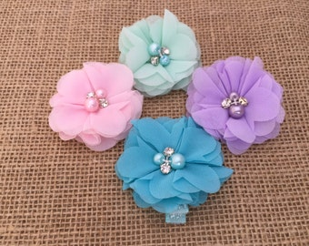 Girls hair clips, Set of four hair clips, Pink Hair clip, Purple Hair clip, Green Hair clip, Blue Hair Clip, Hair clips for little girls