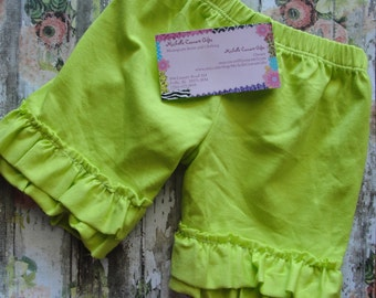 Lime Green Double Ruffle Shorts, Green Shorties, 12M, 18M, 2T, 3T, 4T, Short, RTS, Girl Shorts, Green Girls Shorts, Baby, Toddler, In Stock