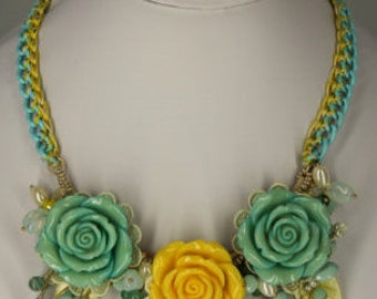 Flower necklace, statement necklace, rose with & yellow