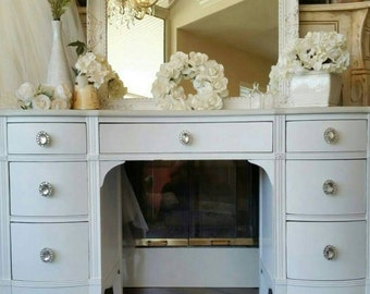UNAVAILABLE  French Boudoir Glam Chic Antique Vanity White Crystal Romantic Elegant Makeup Southern California