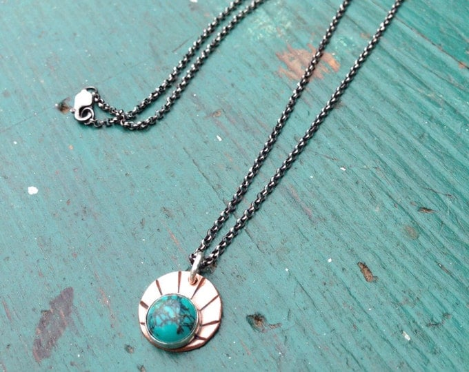 Handmade copper and turquoise pendant with hammered design oxidized with chain