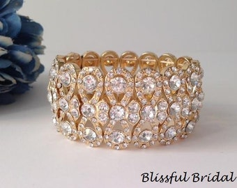 Gold Stretch Crystal Bracelet, Cuff Wedding Bracelet, Gold Bridal Bracelet, Bridal Jewelry, Bracelet For Bride, Wide Rhinestone Bracelet