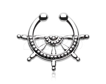 Classic Nautical Wheel Fake Septum Clip-On Ring