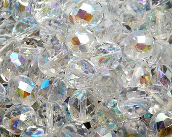 10pcs Czech Fire-Polished Faceted Glass Beads Round 10mm Crystal AB