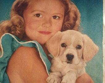 SALE 25% OFF 50s Print / Beagle Print / Puppy Print/ Girl and Puppy Print/ Puppy Love Print/ Vintage Print/ Dog Print