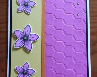 Happy Birthday card – flowers – handmade – vibrant colors - KK_6