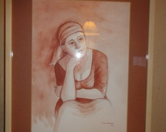 Vintage 1970's Watercolor Drawing/ Signed /Dated