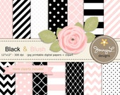 Black and Blush Pink Digital Paper, Blush Rose Flower Clipart for Wedding, Bridal Baby Shower, Birthday, Digital Scrapbooking, Invites