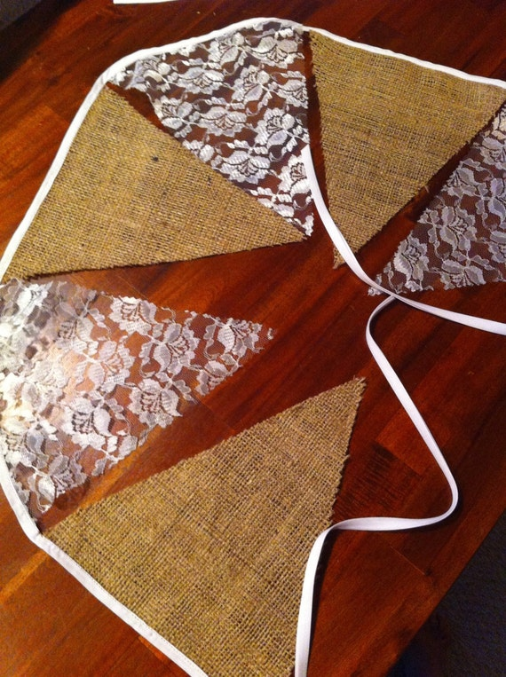 Ready to ship! Burlap and lace bunting flags. Bridal shower, baby shower, wedding signs