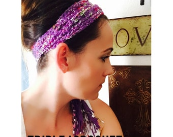 Scarf Headband, Head wrap, Purple Headband, Gypsy Headband, boho, chic