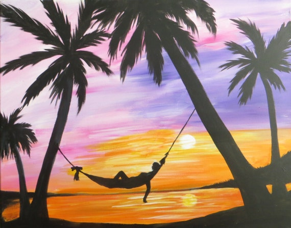 Palm trees at sun set hammock painting 16 x 20 acrylic on for Painting palm trees