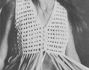 Hippie Vest, Ladies Crochet Pattern, Crochet Pattern,Vest with fringing,Crochet Vest Pattern,Instant Download,Vintage Crochet Pattern,1960's