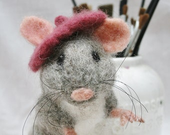 Needle Felted Mouse - Mouse Sculpture - Fiber Art - Artist Mouse