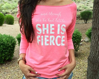 Raw Edge Eco Fleece. And Though She Be But Little She Is Fierce Off Shoulder Shirt. Running Sweatshirt. Fuzzy Off Shoulder Shirt.